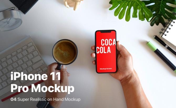 手持iPhone 11 Pro苹果手机办公场景设计样机模板 iPhone 11 Pro On Hand Mockup