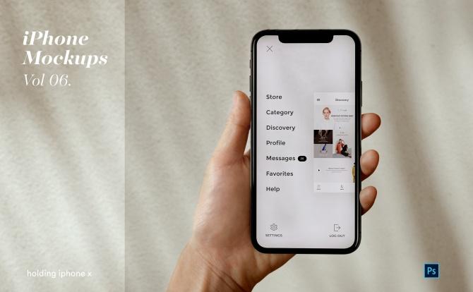 超高分辨率正视图手持iPhone苹果手机设计样机模板 iPhone Mockup Set