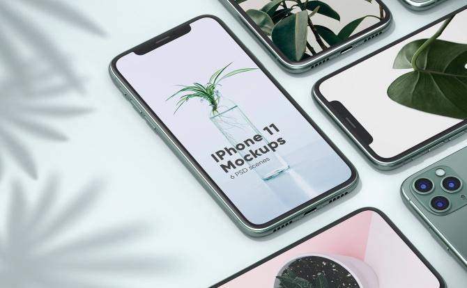 响应式iPhone 11&MacBook设计样机UI应用程序预览效果素材包 iphone and MacBook Mockups Pack