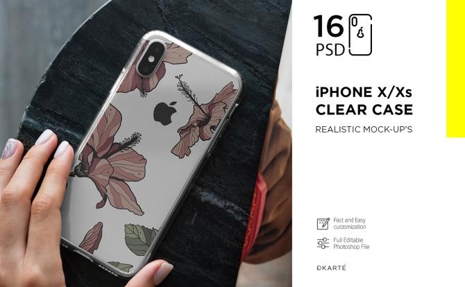 苹果iPhone Xs透明手机保护壳外观设计样机模板 iPhone Xs Clear Case Mock-Up