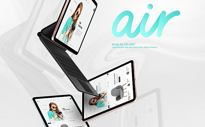 iPad Air网站UI设计样机效果图屏幕展示IPad air website UI