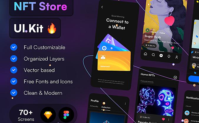 NFT市场货比交易金融平台App应用UI套件NFT Store UI Kit