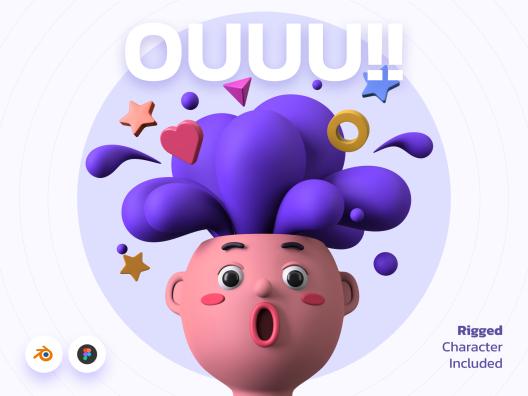 1.08GB卡通趣味性人物3D角色插画素材 3D Illustration