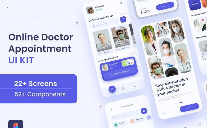 iOS APP在线医生咨询医疗应用程序 UI套件 Online Doctor Consultation App UI Kit