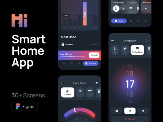 智能家居App应用程序设计iOS UI 套件 Hi – Smart Home UI Kit