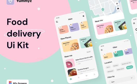 iOS外卖订餐软件应用程序App用户界面设计套件Yummyz Food Delivery UI Kit