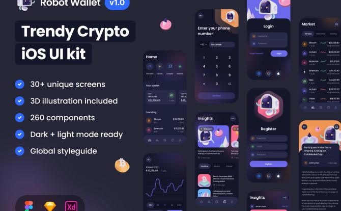 iOS钱包加密货币交易金融应用程序 UI 套件Robot Wallet – Crypto iOS UI Kit