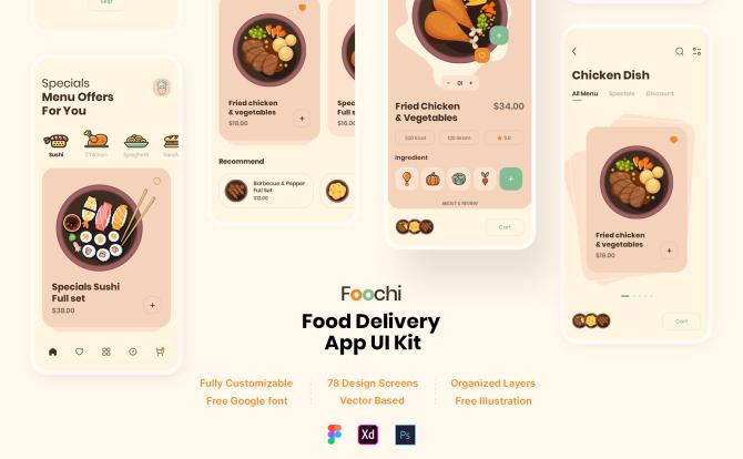 iOS外卖点餐食品生鲜配送平台App应用 UI 套件Foochi – Food Delivery App UI Kit