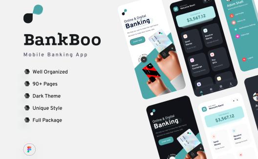 iOS手机电子银行金融交易平台应用程序App界面设计套件Bankboo Mobile Banding App Kit