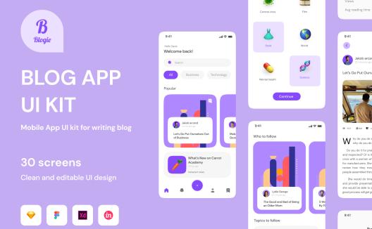 iOS端自媒体博客移动应用AppUI套件Blogie – Blog Apps UI KIT