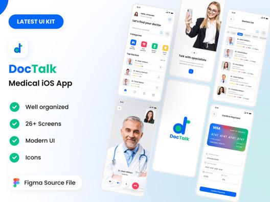 电子医疗看病问诊挂号预约服务App应用UI套件 DocTalk App UI Kit