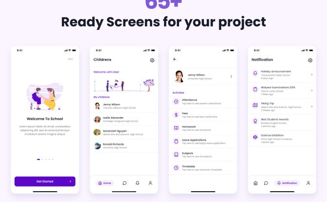 校园家教家长沟通交流App应用程序UI套件Kaksha – School App UI Kit