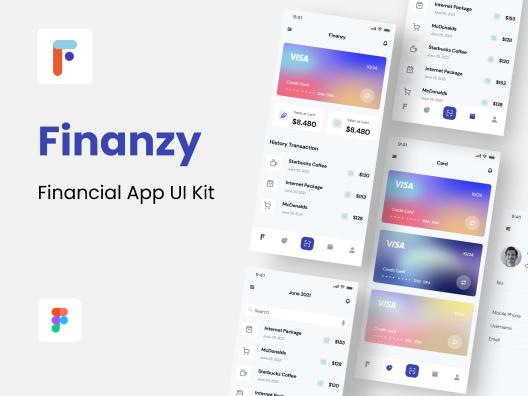 iOS极简主义金融证券交易钱包App应用程序 UI 套件Finanzy – Financial App UI Kit