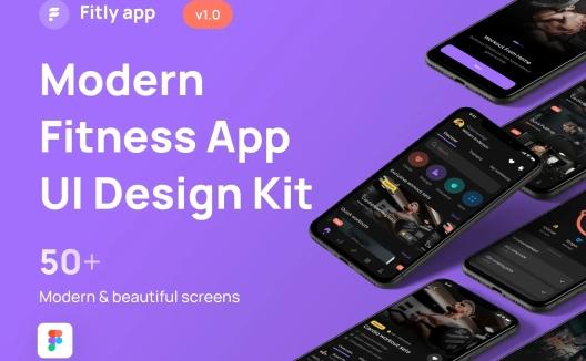 iOS端暗黑系健身健康类APP应用程序UI套件Fitly App – Modern Fitness App UI Design Kit