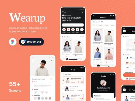 海外极简主义电子商务网卖平台应用程序 UI 套件Wearup – eCommerce App Ui Kit