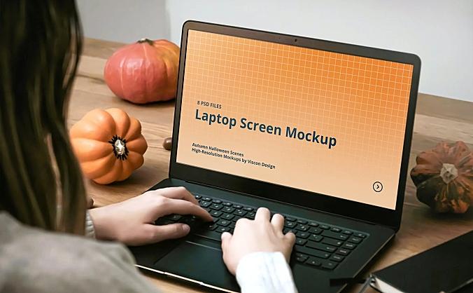 万圣节氛围笔记本电脑屏幕效果展示设计样机elements laptop mockup autumn halloween scenes