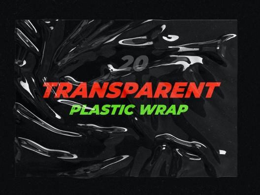 炒鸡火的透明塑料纹理包装设计样机transparent plastic wrap texture mock-up