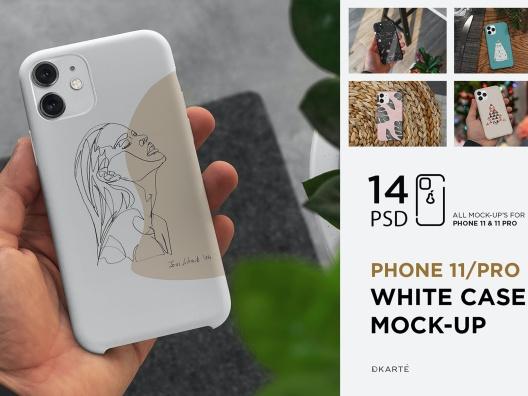 1.86GB白色iPhone11手机保护壳设计样机模板elements iphone-11pro white case mock up