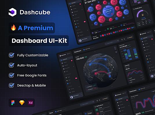 暗黑系3D高级多功能仪表板UI套件Dashcube Dashboard Ui Kit