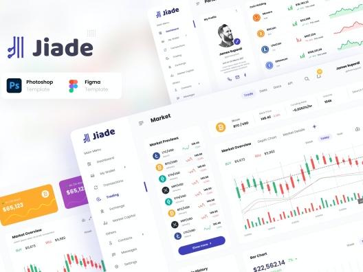 极简主义黑白主题数据加密货币交易平台管理系统web UI模板jiade modern crypto trading ui template
