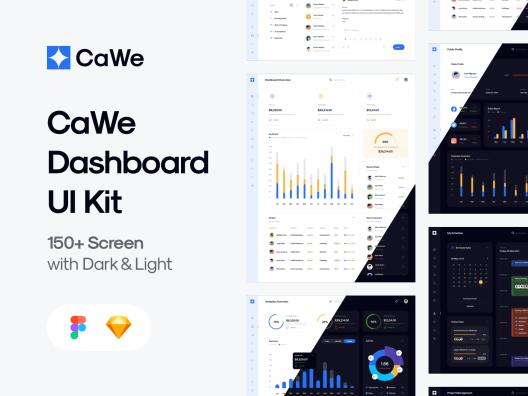 成体系化浅色系黑暗系高级仪表板web设计UI套件CaWe Dashboard UI Kit