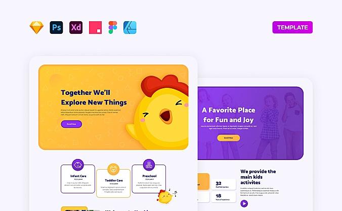 卡通幼儿园萌系机构官网web ui设计模板elements kindergarten website template