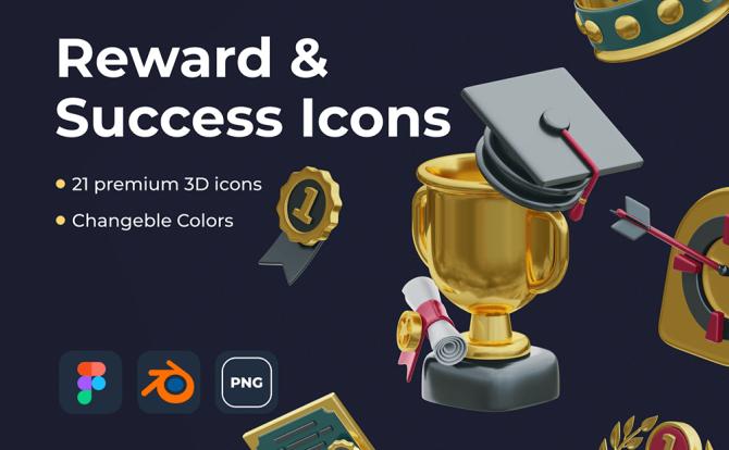 土豪金色系3D奖杯勋章主图图标Reward & Success Icons