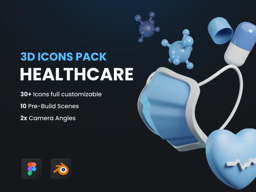 3D创意现代医疗保健主题图标 Healthcare 3D Icons