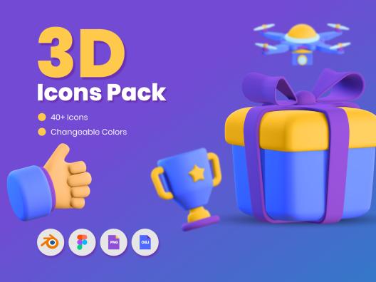 40个创意3D网站App登陆通用图标 3D Icons Pack