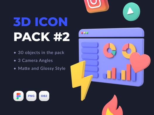30个高级网站APP通用超清分辨率图标3D Icon Pack