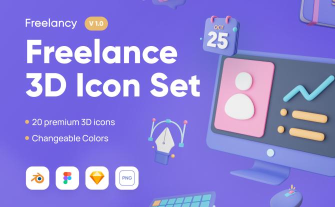 20个3D创意图标自由职业系统icon Freelancy – Freelance 3D Icon Set