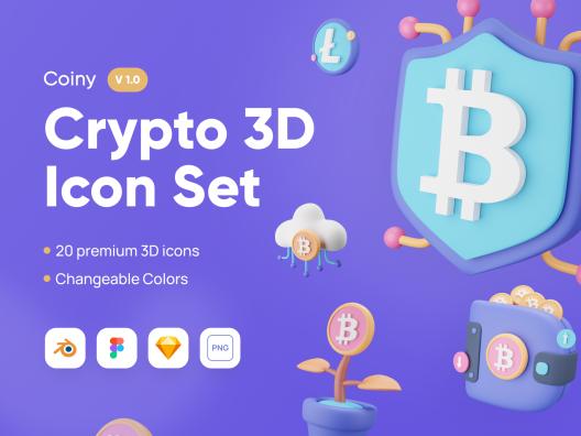 20个3D创意金融科技区块链主题图标icon Coiny – Crypto 3D Icon Set