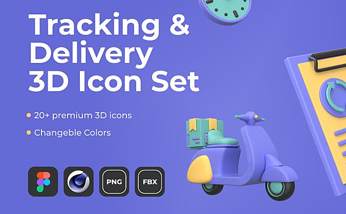 20+3D创意外卖物流系统地图系列图标icon Tracking & Delivery 3D Icon Set