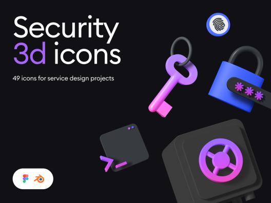 49个3D创意浅色深色用户隐私保护主题系列图标 Security 3d icon kit
