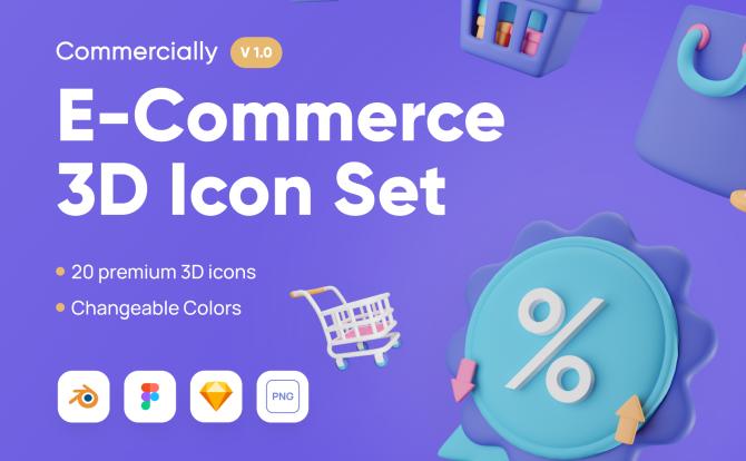 网络商城电子商务3D创意图标Commercially – E-Commerce 3D Icon Set