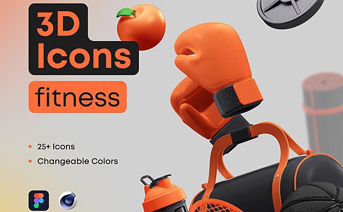 25+高分辨率健身用品器材主题3D图标icon 3D Icons Pack – Fitness