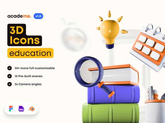 3D创意学习用品文学教育主题图标Academe – 3D Education Icons