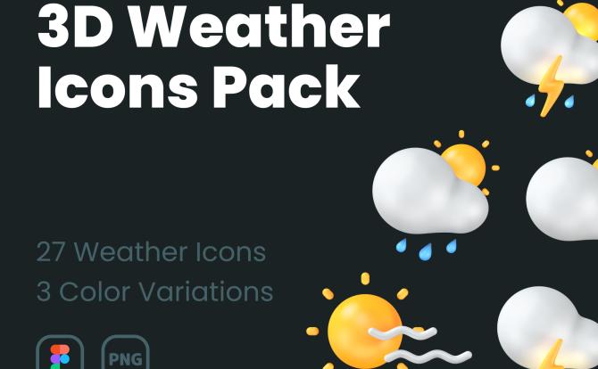 3D浅色深色天气预报主题系列图层icon 3D Weather Icons Pack
