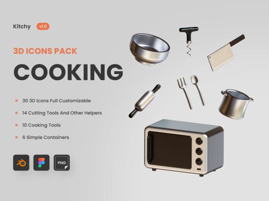 30个高级拟真3D厨房用品餐具图标Kitchy – 3D Cooking ware Icons
