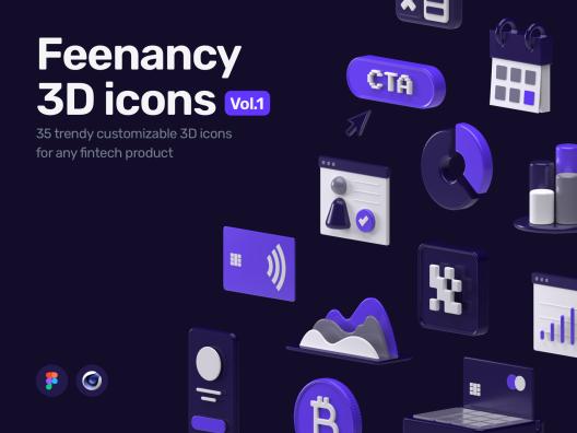 35个金融网络科技产品3D图标合集Feenancy 3D icons
