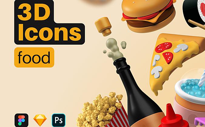 20+3D汉堡寿司食物主题图标素材3D Icons Pack – Food