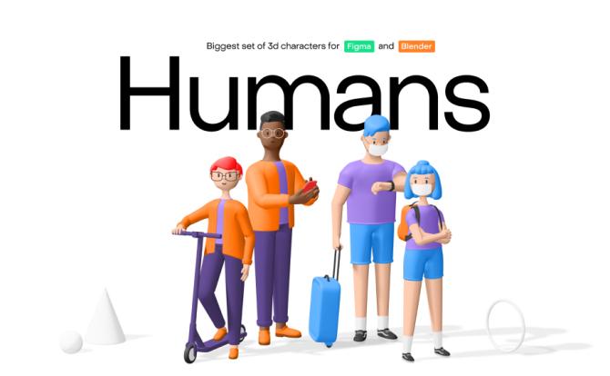 3D创意时髦人物角色素材包 3D Icons Pack
