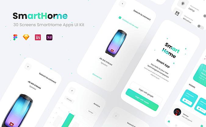 极简主义iOS智能家居应用程序APP SmartHome UI KIT