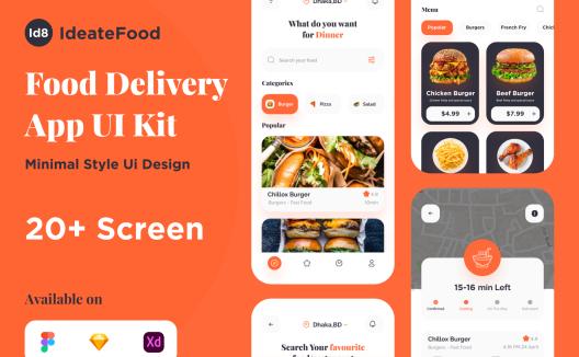iOS端外卖点单配送App应用程序 Ideate Food Delivery App Ui KIt