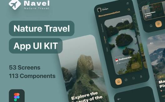 旅行出行旅游景点推荐App应用程序 Navel – Nature Travel Expedia App UI Kit