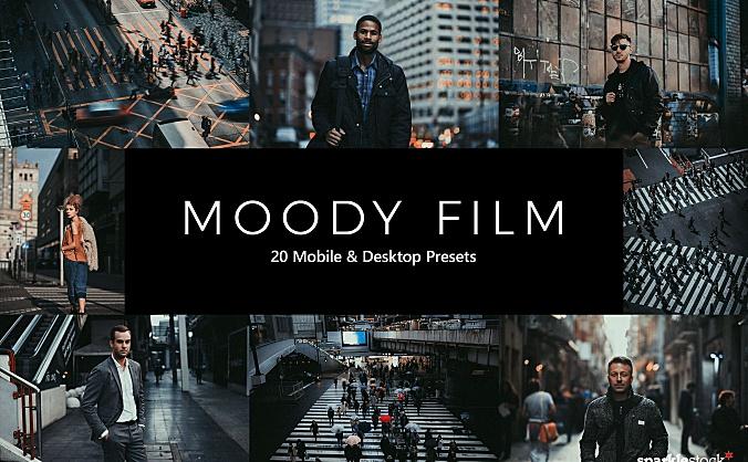 20种深色调黑金城市街区LR调色预设文件 20-moody-film-lightroom-presets-luts