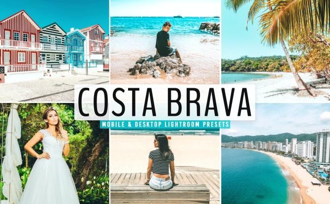 夏季海边沙滩青蓝糖果色调LR调色预设滤镜 costa-brava-mobile-desktop-lightroom-presets
