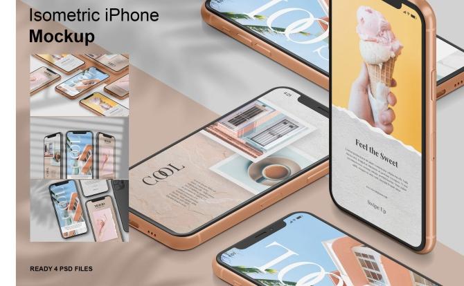 4个PSD iPhone等距手机样机模板 isometric-iphone-mockup