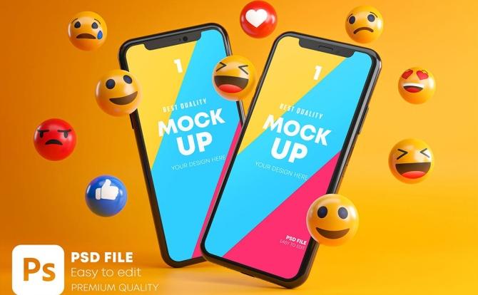 微笑表情包符号元素iPhone手机样机素材 smartphone-emoji-mockup-pack