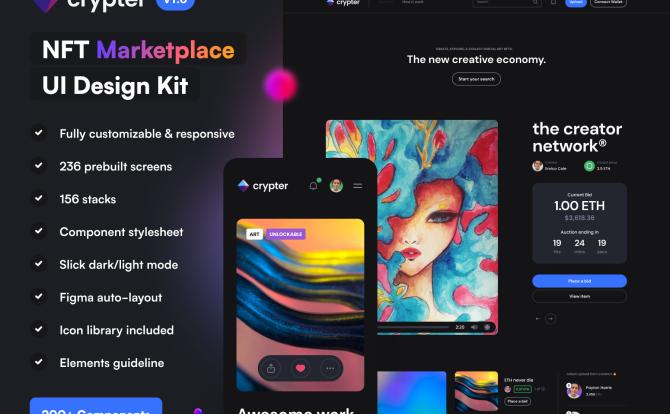 应用响应式数字艺术品NFT交易平台AppUI设计Fig模板 Crypter – NFT Marketplace UI Kit